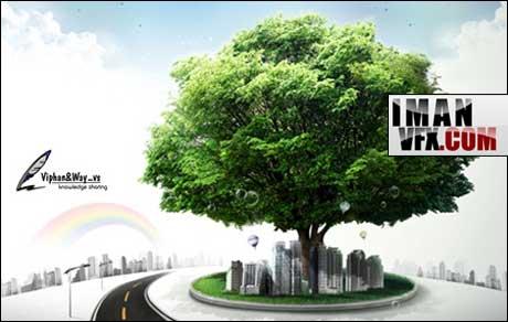تصویر لایه باز A large green tree