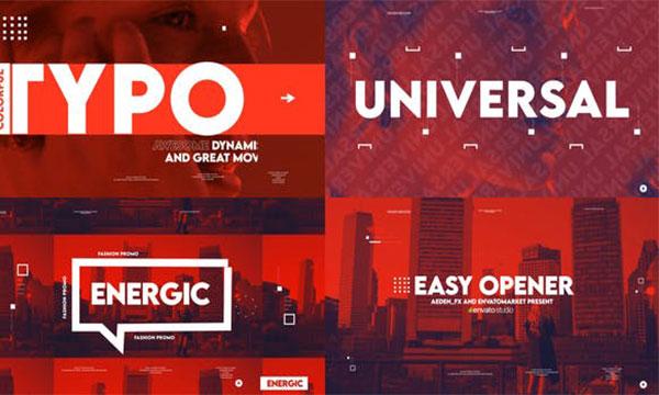 پروژه آماده افترافکت ساخت تیزر ، وله ، آنونس Easy Energetic Intro