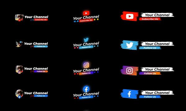 پروژه افترافکت زیرنویس شبکه های اجتماعی SOCIAL MEDIA LOWER THIRDS
